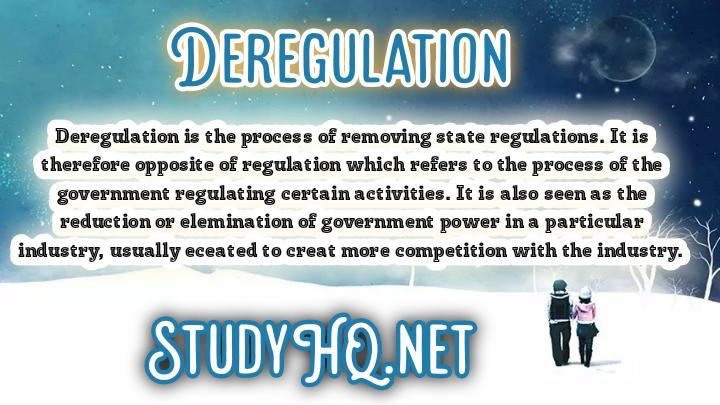DEREGULATION | Definition